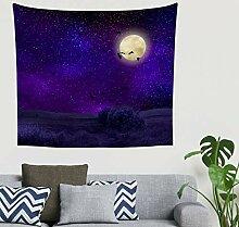 Fantasy Schwarz Rabe Mond Lila Sternenhimmel