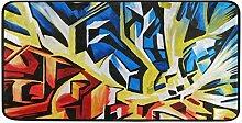 FANTAZIO Abstrakter blau-roter Kunst-Teppich