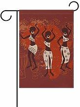 FANTAZIO Garten-Flaggen Afrika Frauen und Trommel