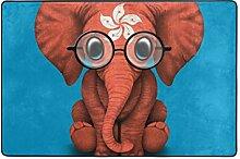 FANTAZIO Teppich Baby Elefant mit Brillenmuster,