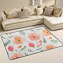 FANTAZIO Teppich, handbemalt, mit Blumen, gerade,