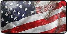 FANTAZIO Teppich mit Amerika-Flagge und Feuerwerk,