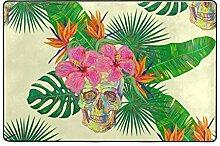 Fantazio Teppich mit Blumen-Totenkopf-Motiv,