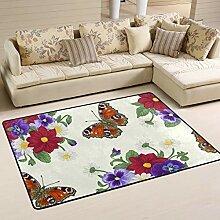 Fantazio Teppich mit Blumen und Schmetterlingen,
