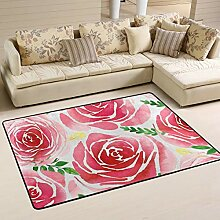 FANTAZIO Teppich mit Blumenmuster, Wasserfarben,
