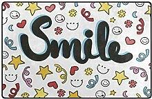 FANTAZIO Teppich mit Buntem Lächeln Hintergrund