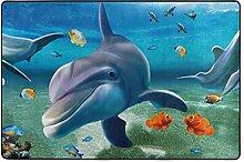Fantazio Teppich mit Delfin-Motiv, gerade, für