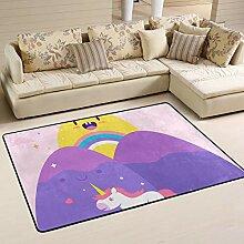 Fantazio Teppich mit Einhorn-Motiv, gerade, für