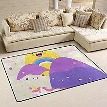 FANTAZIO Teppich mit Einhorn-Motiv, glatt, für