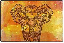 Fantazio Teppich mit Elefantenmotiv, Orange, für