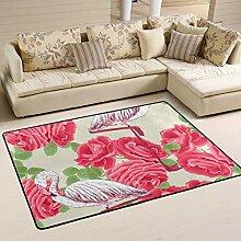 FANTAZIO Teppich mit Flamingo- und rotem