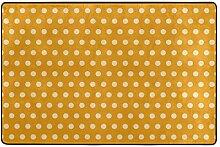 FANTAZIO Teppich mit gelbem Punktemuster, gerade,