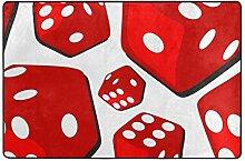 FANTAZIO Teppich mit großen roten Würfeln,