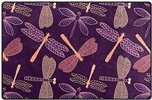 FANTAZIO Teppich mit Libellen-Muster, rutschfest,