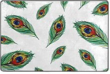 Fantazio Teppich mit Pfauenfedern, gerade, für