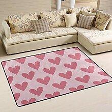 Fantazio Teppich mit rotem Herz, gerade, für