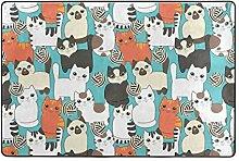 FANTAZIO Teppich mit süßem Katzenmuster, gerader