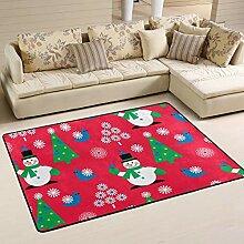 FANTAZIO Teppich mit weihnachtlichem Schneemann,
