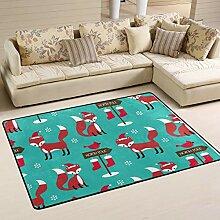 FANTAZIO Teppich mit weihnachtlichen Füchsen,