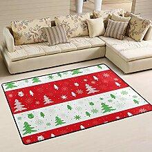 FANTAZIO Teppich mit Weihnachtsbäumen für Ecken