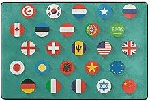 Fantazio Teppich mit Weltflaggen-Symbolen, gerader
