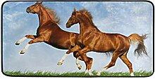 FANTAZIO Teppich mit Zwei Pferden, rutschfest,