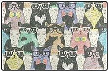 FANTAZIO Teppich, niedliche Katze mit Brille