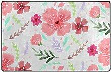 FANTAZIO Teppich, rosa Handzeichnungen mit Blumen,