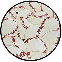 FANTAZIO Teppich, rund, Baseballdruck, rutschfest,