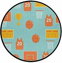 FANTAZIO Teppich, rund, Basketballelemente,