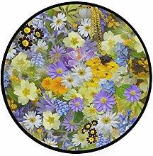 FANTAZIO Teppich, rund, Motiv: Frühlingsblumen