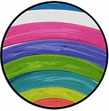 FANTAZIO Teppich, rund, Regenbogenfarben,
