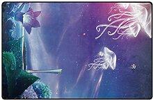 FANTAZIO Teppich, schöne Quallen mit Blumen,