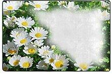 Fantazio Teppich, weiß, Chrysantheme, gerade,