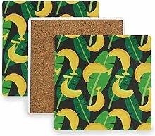 FANTAZIO Untersetzer mit Bananenblatt-Muster, für
