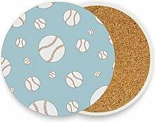 FANTAZIO Untersetzer mit Baseball-Drucken, für