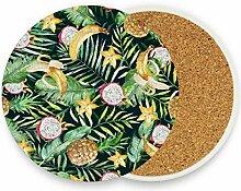 FANTAZIO Untersetzer mit grünen Palmenblättern,