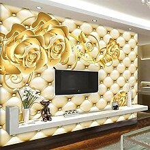 FANTECY 3D-Tapete goldene Rose europäisches