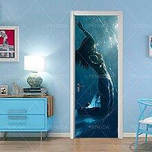 Fantxzcy Fototapete Tür 3D Türaufkleber Schöne
