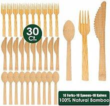 FAPPEN 30 Stücke Bambus Hölzern Einwegbesteck,