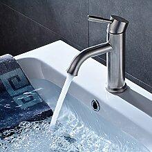 Fapully Badarmatur Waschtischarmatur Armatur für Badzimmer Auslauf Einhebel Mischbatterie Wasserhahn Gebürsteter Nickel