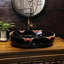 Farbe Retro Art Basin Oval Keramik Waschbecken
