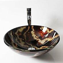 Farbe runden gehärtetes Glaswaschbecken mit einem geraden Rohr führende Pop-Drain und montieren Sie den ring