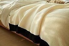Farbe Stricken Wolldecke Freizeitaktivitäten Mittagspause Sofa Blanket Kämpfen, 150 Cm X 200 Cm, Weiß Und Schwarz Buchstabiere Farbe