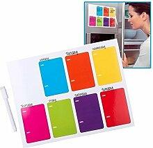 Farbenfrohe Memotafel Wochneplaner magnetische Merktafel Notizen für die Küche oder als Kühlschrankaufkleber- inkl. schwarzer Marker und Mini-Löschschwamm
