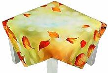 farbenfrohe Tischdecke 110x110 cm Herbst Hellgrün Blätter Blatt Bunt Herbstdecke Pflegeleicht Bügelfrei (110 x 110 cm)