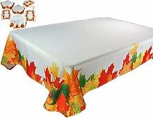 farbenfrohe Tischdecke 130 x 170 cm eckig Herbst Weiß Blätter Blatt Bunt pflegeleicht bügelfrei (Tischdecke 130x170 cm)