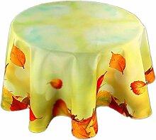 farbenfrohe Tischdecke Rund 130 cm Herbst Hellgrün Blätter Blatt Bunt Tischtuch Pflegeleicht Bügelfrei (130 cm)