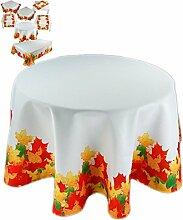 farbenfrohe Tischdecke rund 150 cm Herbst Weiß Blätter Blatt Bunt pflegeleicht bügelfrei (Tischdecke rund 150 cm)