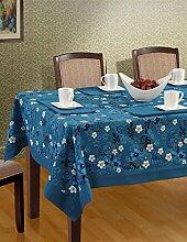 Farbenfrohes Tischtuch mit Kästchenmuster aus Baumwolle - 152 x 228 Cm- Decke für einen Tisch für 6 Personen - Blau Grenze